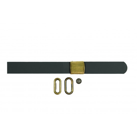 Black + Brown Leather and Brass Buckle Cap Making Kit