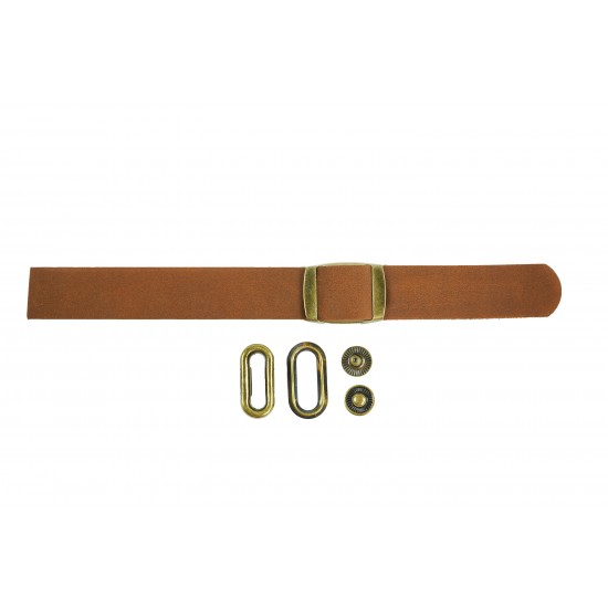 Black + Brown Leather and Brass Clasp Buckle Cap Making Kit