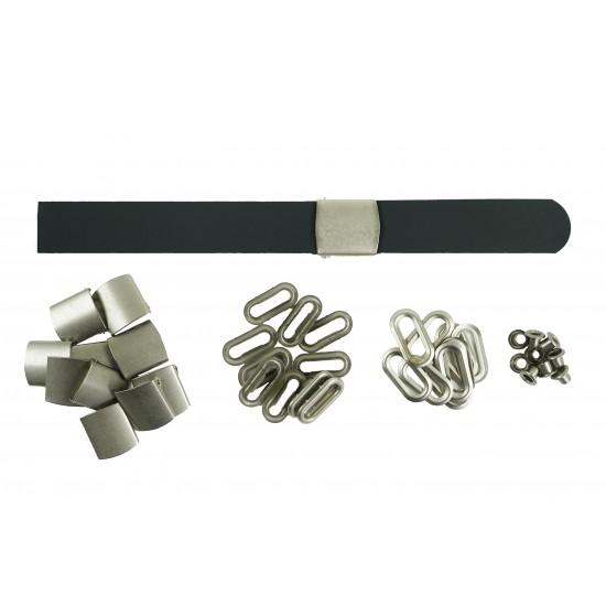 Black Leather + Silver Buckle Set (10 Set)