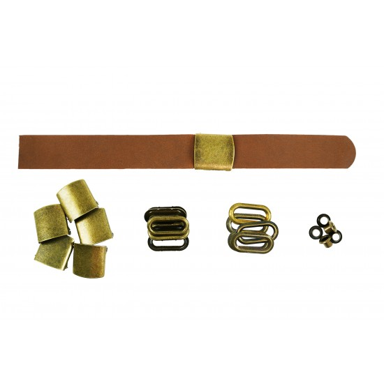 Brown Leather + Brass Buckle Set (5 Set)