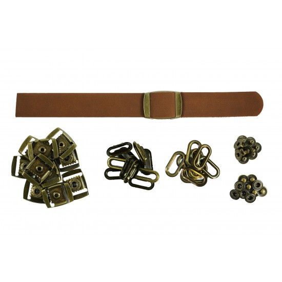 Brown Leather + Brass Clasp Buckle Set (10 Set)